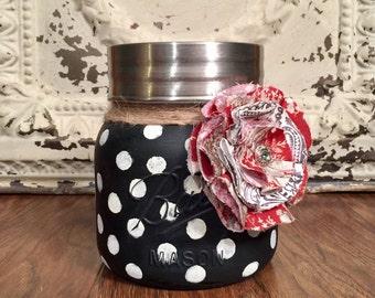 Painted Mason Jar, Mason Jar Decor, Kitchen Canisters, French Country Decor, Mason Jar Canister, Kitchen Decor, Farmhouse Decor