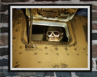Man Cave Decor, Industrial Wall Decor, Steampunk Wall Decor, Tank Driver Photo, WWII Photography, Fort Knox Kentucky, Yellow,  1942