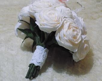 Stunning paper flower wedding bouquet