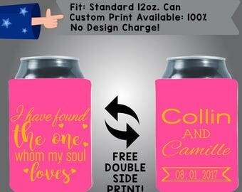 I Have Found The One Whom My Soul Loves Names Date Collapsible Fabric Wedding Cooler Double Side Print (W178)