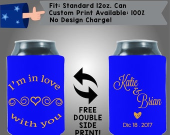 I'm in Love With You Names Date Collapsible Fabric Wedding Cooler Double Side Print (W201)