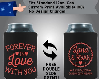 Forever in Love with you Names Date City State Fabric Wedding Can Coolers, Cheap Can Coolers Wedding Favors (W259)