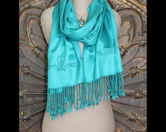 Teal Pashmina Scarf Wrap, Embroidered Pashmina Shawl, Teal Pashmina Wrap, Gift for her, Spring Shawl, Birthday Gift, Bridesmaid gifts