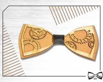 Wooden bow tie Gears, Engineer, Steampunk Pattern, Lasercut and Engraved, Several colors available, customizable, adult and children, style.