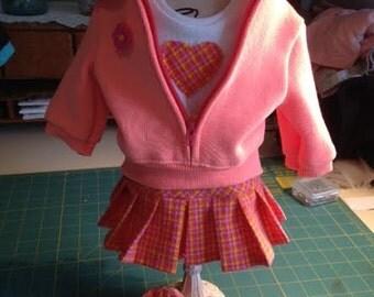 American Girl doll sweatshirt/tshirt/skirt & shoes