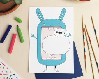 HELLO! Bunny greeting card