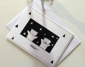 "Folded card ""Choumi et Michou Hello"""