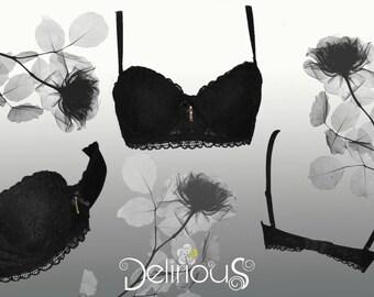 Delirium soft black lace bandeau bra