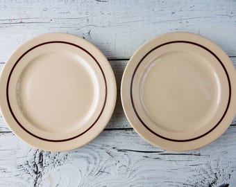 Set of 2 Tan Ceramic Plates-Food Photography Props