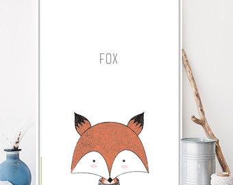 Print for child's kid's baby's room - fox