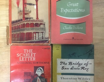 4 Vintage Paperback Books - Life on the Mississippi, The Bridge of San Luis Rey, The Scarlet Letter and Great Expectations