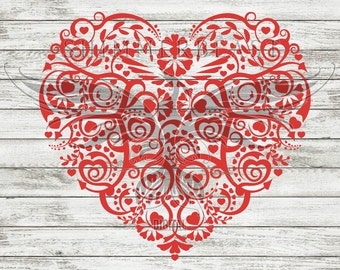 Valentine's Day SVG Cut File   Folk Art Heart svg   Valentine svg   Valentine heart svg   Valentine's SVG design   valentines svg   svg