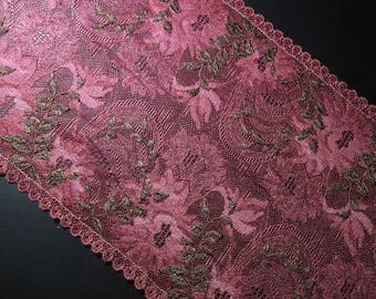 "19.5cm 7 5/8"" Wide Stretch Lace Magenta Floral Black Vines DIY Lingerie Intimages Underwear"