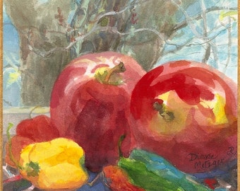 """Small still life painting, original watercolour gouache, """"Apples and Winter Tree"""""""