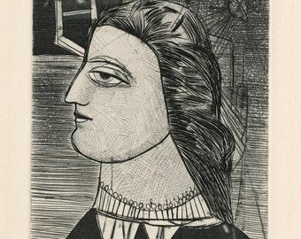 "NAHUM TSCHACBASOV (Russian/American, 1899-1984), ""Profile, No. 16"", 1947, original etching, pencil signed"