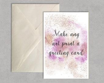 Make any art print a greeting card!  fashion illustration, greeting card, fashion card,