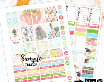 Spring Weekly Planner Stickers, Printable Sticker Kit, Spring Stickers, Erin Condren Kits, Digital Stickers