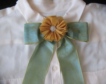 Pale Green Bow Tie Scarf With Flower