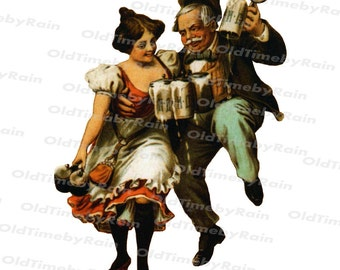 Instant PNG Digital Download/Vintage Illustration/PNG File/A couple of drunks/Man and woman with beer glasses/Cheerful couple/