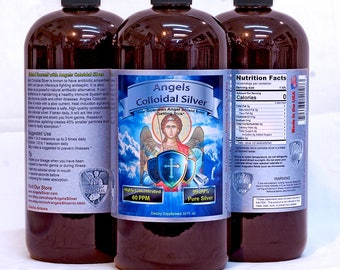 Angels Colloidal Silver 32 oz. 60ppm Antibiotic Dogs Cats Sick pets natural