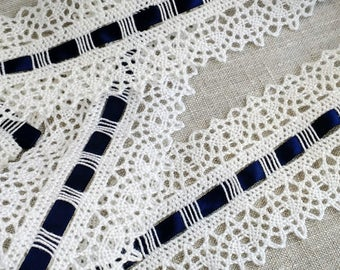 LOT OF 3 YARDS Vintage Ivory Cotton Lace and Navy Blue Ribbon Trim, Vintage Lace, Cotton Lace, Vintage Trim, Vintage Ribbon, White Trim
