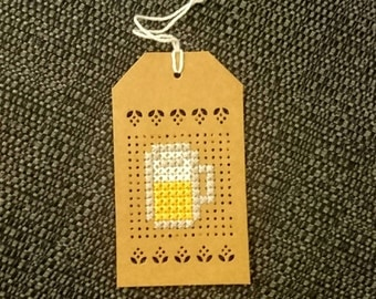 Beer cross stitch gift tag