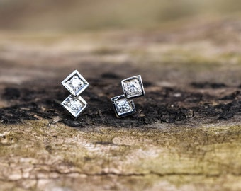 Infinity Cube Earrings Double with CZ