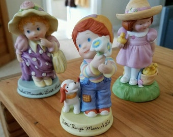 Vintage Avon Figurines 1983, 1985 Cherished Moments, Little Things, Lot of 3