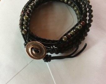 Dragon Blood Jasper and leather wrap bracelet