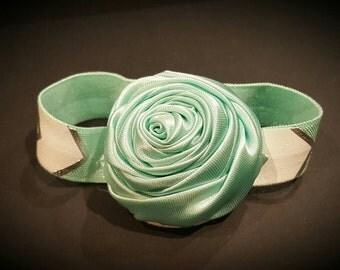 Aqua satin flower  baby bracelet
