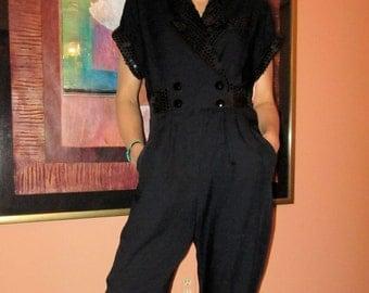 Sequined tuxedo jumpsuit