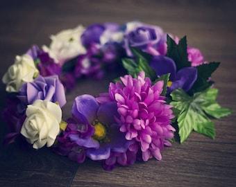 Flower Wreath Headband,Purple Wreath,accessory artificial flowers,wreath photo props,headband photo props,RTS,pretty handmade,rainbow wreath