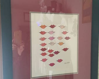 Stamped lips signed print by Andy warhol