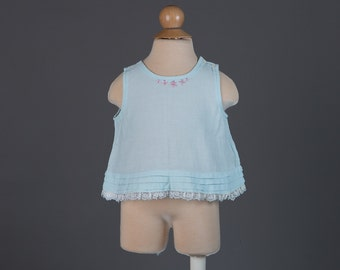 vintage 1960s baby blouse | blue tank top