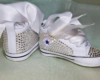 White baby Converse, baby bling shoes, bling baby shoes, baby girl shoes, unique baby gift, unique baby shower gift, baby girl clothes, baby