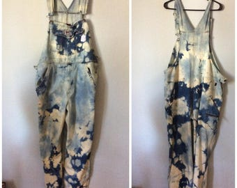 One of a kind bleach tie-dye  overalls  size XL  to 1XL
