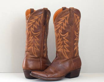 Calistoga | brown Liberty Boot Co. cowboy boots | handmade leather cowboy boots | women's size 8 8.5