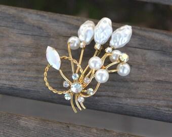 Gold Pearl Brooch Vintage 1950's Gold Tone Pearl Brooch Iridescent Crystal Brooch Baroque Pearl Pin Austrian Brooch Pearl Wedding Brooch