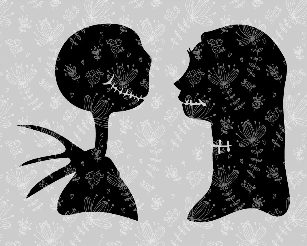 Couple shirt design download - Silhouette Disney Couple Jack And Sally Svg Cutting Esp Vector Instant Download