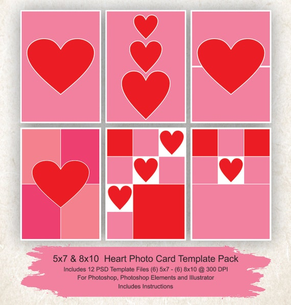 5x7 postcard mailing template - 5x7 and 8x10 photo collage template 12 pack hearts card
