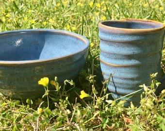 Terrain | Unique Handmade Bowl and Mug Set | Blue with Carved/Textured Ridge Design | Ceramic | Pottery