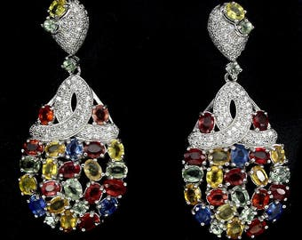 Natural Multi Color Fancy Sapphire 42 Carats Earrings