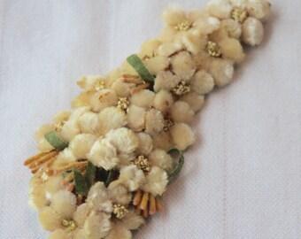 Antique 30s-40s velvet applique,Vintage velvet flowers garnish,Victorien velvet ornament,millinery vintage garnish,vintage adornment