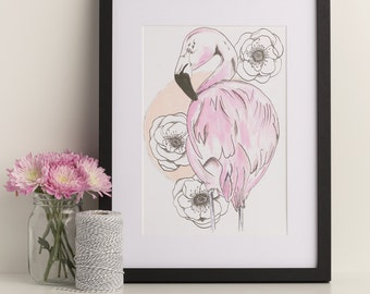 flamingo drawing | etsy