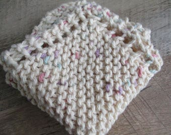 Hand Knit Washcloth or Dishcloth: Beige with Speckles