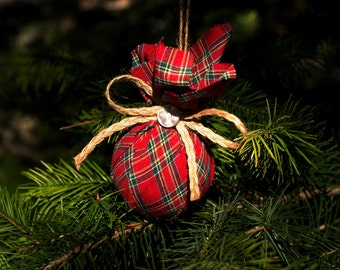 Christmas ornament in tartan fabric