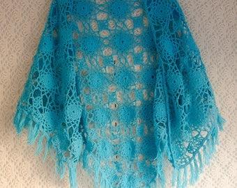Vintage crochet handmade bright blue turquoise shawl scarf