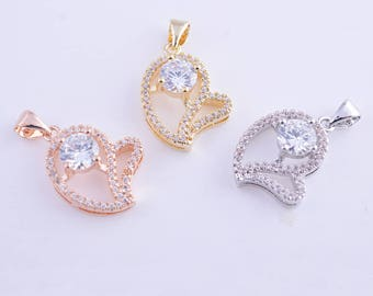 Micro pave heart charm,cubic zircon heart charm,rhinestone heart charm,pendant,necklace,bracelet,14k gold,rose gold and rhodium colors