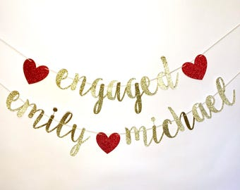 ENGAGED BANNER, engaged name banner, engaged name sign, engagement banner, engaged decor, engagement name sign, engaged, engaged photo prop