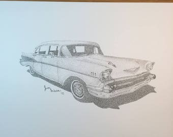 Original Stippled Chevrolet Car Drawing // pen // ink // black and white // chevy // old // vintage // dots // pointillism // hot rod
